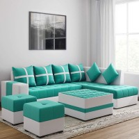 Torque Fabric 3 + 2 + 1 + 1 Aqua Blue Sofa Set