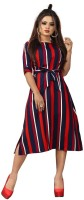 NEW ETHNIC FASHION Women A-line Dark Blue, Maroon Dress