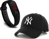 Florida Solid, Embroidered COMBO SET OF 2 WATCH-01+CAP-01 TODAY NEW TREND FOR MEN'S AND KID'S AND BOY'S Cap