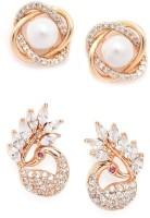 ZAVERI PEARLS Combo of 2 Cubic Zirconia, Pearl Brass Stud Earring