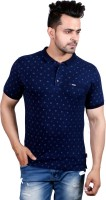 GODFREY Printed Men Polo Neck Denim Dark Blue T-Shirt