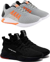 Chevit Perfect & Affordable Combo Pack of 02 Pairs Sneakers Outdoor Loafer Sports for Running Rock Climbing Gym Shoes Sneakers For Men(Black, Grey)