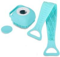 sneh sales COMBO Silicone Body BATH Back Scrubber AND Body Bath Brush, Soft Cleaning Body Brush with Shampoo Dispenser - Skin Massage Brush Bath Bathroom Accessories (MULTI COLOR) (1 PC)