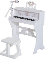 Toys Bhoomi Huge 37 Keys Electronic Piano Children Keyboard with Light Kids Musical Instrument Educational STEM Game Grand Pianos Playset Toy Set w/Stool + Microphone + Music Stand (White)(White)
