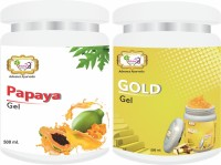 Sibley Beauty Papaya Fruit Moisturizer Massage Gel for Face (1 x 500 gm.) - Radiant Gold Facial Massage Gel (1 x 500 gm.) - Pack of 2 - for blemishes, pigmentation, whitening, oily dry normal combination skin, men women girls boys - Salon Pack Products(1 kg)