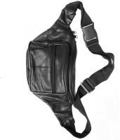 Hiken Leather Travelling Waist Multipurpose Bag(Black, 7 inch)
