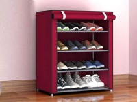 Bab N Jag Metal Collapsible Shoe Stand(Maroon, 4 Shelves, DIY(Do-It-Yourself))