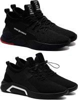 Chevit Unique & Perfect Collection Combo Pack of 02 Shoes for Men Casual Sneakers & Outdoor Walking Shoes for Men Sport Shoes for Men Running Gym Cycling & Trekking Rock Climbing Shoes for Men Sneakers For Men(Black)