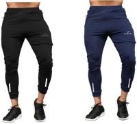 Vitaan Solid Men Blue, Black Track Pants
