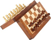 CRAFTASIA Wooden Chess Set with Magnatic Board and Hand Carved Chess Pieces   Pocket Travel Chess (10 Inches) Strategy & War Games Board Game