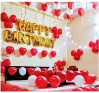 Devansh enterprises Solid Golden Happy Birthday Foil Letter Balloons With 30 Red & White Large Balloons Balloon(Red, White, Gold, Pack of 43)