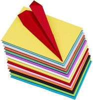 Talukdar Lifestyle 100 pcs UNRULED A 4 80 gsm Origami Paper(Set of 100, Multicolor)