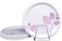 Blue India xclusive Melamine Desserts Plates | Set of 6 Pieces | 8 inch | Pink Leaf Design Quarter Plate(6 Quarter Plate)
