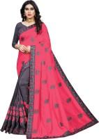 Shivanya Fashion Embroidered Fashion Silk Blend Saree(Pink)