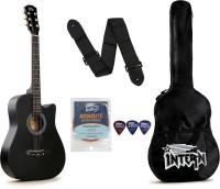intern INT-38C-BK Acoustic Guitar Linden Wood Rosewood Right Hand Orientation(Black)