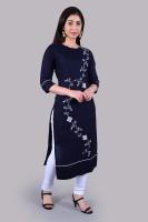 PILUDI Women Printed Straight Kurta(Dark Blue)