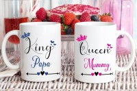 TrendoPrint King Papa And Queen Mummy Printed Combo White Tea Ideal and Sweet Gift and Return Gift Choice for Father And Mother Dad And Mom Mumma And Daddy Ceramic Coffee Mug(350 ml)