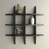 OnlineCraft T rack shelf black Wooden Wall Shelf(Number of Shelves - 12, Black)