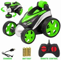 jasan Remote Control Stunt Car Vehicle 360°Rotating Rolling Radio Control Electric Racing Car (colour may vary )(Green)