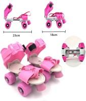 Bestie Toys Super Quality Adjustable Quad Roller Skates Inline Skates Suitable for Age Group 6 to 12 Years Quad Roller Skates - Size 6years to 12 years UK(Pink)