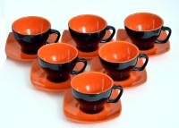 Bobby Designs Pack of 12 Ceramic Cup Saucer Set of 6, Morning Tea Set, Glossy Black & Orange(Orange, Black)
