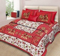 Heyrumbh Handicrafts Cotton Double Bed Cover(Multicolor, 1 Bedsheet with 2 Pillow Cover)