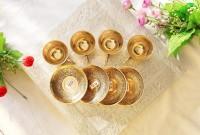 Shivlinga Pack of 12 Bronze Bronze Cup & Saucer Metal Works Handmade Hotel Ware & Kitchen Ware & Occasion of Diwali, Christmas, Anniversary, Birthdays(Gold)