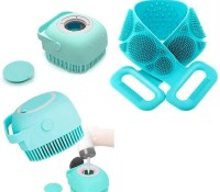London Britches 2 in 1 Silicone Soft Bath Body Brush Combo AND bathroom body brush,Bathing Brush for Women, Soft Cleaning Body Brush with Shampoo Dispenser - Skin Massage Brush Bath Bathroom,Gentle Scrub Massage,Dead Skin Removal Exfoliating Belt for Shower(Multicolor,2Pcs)