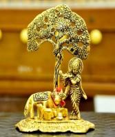 LOTUS RISE Metal Krishna with Cow Standing Under Tree Playing Flute / Krishna Murti / Krishna Cow Idol / Krishna Showpiece / God Idols / Brass Finish Showpiece Decorative Showpiece - 17 cm (Metal, Gold) Decorative Showpiece  -  7 cm(Brass, Gold)