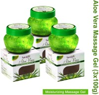 NutriGlow Aloe Vera Moisturizing Massage Gel 100gm Pack of 3(300 g)