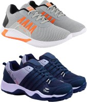 Chevit Super Stylish & Trendy Combo Pack of 02 Pairs Sneakers Outdoor Loafer Sports for Running Rock Climbing Gym Shoes Sneakers For Men Sneakers For Men(Grey, Navy)