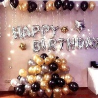 a-one suppliers Solid Happy Birthday Letter Foil Balloon Set of 63 Balloon(Silver, Black, Silver, Gold, Pack of 63)