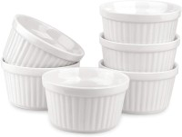 SkyKey Bone China Ramekins Durable Baking Cups for Soufflé, Crème Brulee, Custards, Pudding and Ice Cream, Pack of 6, 110 ML Bone China Ramekin Bowl(White, Pack of 6)