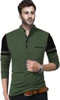 TRIPR Solid Men Henley Neck Dark Green, Black T-Shirt