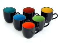 Bobby Designs Pack of 6 Ceramic Ceramic Tea Set, Tea Cup Set of 6, Black Coffee Mug Set, Milk Mug(Multicolor)