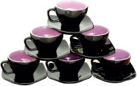 Bobby Designs Pack of 12 Ceramic Ceramic Tea Set Cup Saucer Set of 12 Black Tea Cup Set Coffee Mug Set(Black)