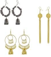 Demetrio Combo of 3 Fancy, Party Wear, Trendy, Designer Earrings for girls & women, Golden Jhumki, Cheap earrings, Jhumki ear ring for girls, Earring set, Golden Chandbali Pearl Alloy Jhumki Earring, Earring Set, Chandbali Earring