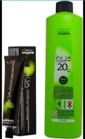 enzo INOA Ammonia Free Permanent Colour 3 Dark Brown (1tube) 60mL+ Loreal INOA Oil Developer 1000 mL , L'OREAL PARIS
