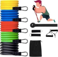 Bombus resistance band tube fitness home workout gym exercise training men & women Fitness Band(Multicolor, Pack of 11)