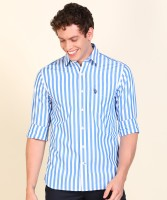 U.S. POLO ASSN. Men Striped Casual White, Blue Shirt