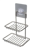 DARK UNION SHOP Wall Mounted Double Layer soap Dish Holder Stainless Steel Wall Hanging Soap Storage Rack for Kitchen Bathroom-with Self Adhesive Magic Sticker(Silver)