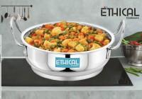 Ethical FINEART Range of Superior Quality Stainless Stell Kadahi Pan/ Induction Kadahi / Encapsulated Induction Kadhai 22 cm diameter 2.3 L capacity(Steel, Induction Bottom)
