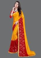 LAHEJA Embroidered Bandhani Poly Silk, Silk Blend Saree(Yellow)
