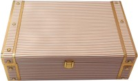 Oasis gifting Brown and white Stripes Engineered Wood Trunk(Finish and Fabric Color - Brown, Gold and White, Pre-assembled)