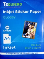 Tequiero Glossy Sticker Paper for Inkjet Printer, Self Adhesive Photo Sheets for printing stickers, labels and craft projects Unruled A4 100 gsm Inkjet Paper(Set of 1, Glossy White)