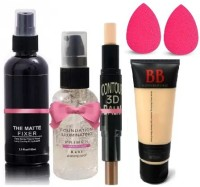 SEUNG BEST EVER MAKEUP SKIN ILLUMINATING GEL PRIMER MAKE & SETTING FIXER SPRAY AND 2 IN 1 CONTOUR & CONCEALER STICK WITH LIQUID MATTE BB CREAM WITH BLENDER COMBO KIT(6 Items in the set)