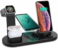Litvibes Wireless Charging Station 4 in 1,Fast Wireless Charger 3A rotatable Stand Dock for Micro USB phones and Type-C phones, Multi-Function charging stand compatible for Iphones - BLACK Charging Pad