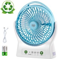 DP 7605 ABS USB Personal Battery Operated Desk Fan, 4000mAh Rechargeable Battery (Included), 3 Speeds, 330 Degree Rotation, Ultra Quiet Cooling Table Fan with Night Light for Home and Office 88 mm Silent Operation 3 Blade Table Fan(Blue, White, Pack of 1)