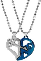 Sullery Pendant Pair Has Two Pieces Of One Heart- Each One Saying ' I Love You' , That Can Be Joined Together Making One Heart- A Sign Of Making Two Souls In One Heart, A Perfect Present To Maintain The Intimacy Between You Both. One Of The Pendants Is In Blue And Silver Color Which Looks Attractive