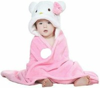 Bajia Creation Light Pink Free Size Bath Robe(Pack Of 1, For: Baby Boys & Baby Girls, Light Pink)